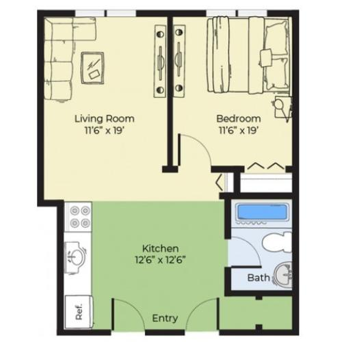 1 Bedroom Floor Plan | Apartments In Salem Massachusetts For Rent | Princeton Crossing