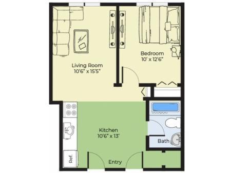 1 Bdrm Floor Plan | Apartments In Salem MA | Princeton Crossing