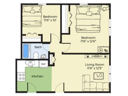 2 Bdrm Floor Plan | Apartments For Rent Near Salem MA | Princeton Crossing