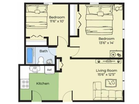 2 Bedroom Floor Plan | Apartments For Rent In Salem MA | Princeton Crossing