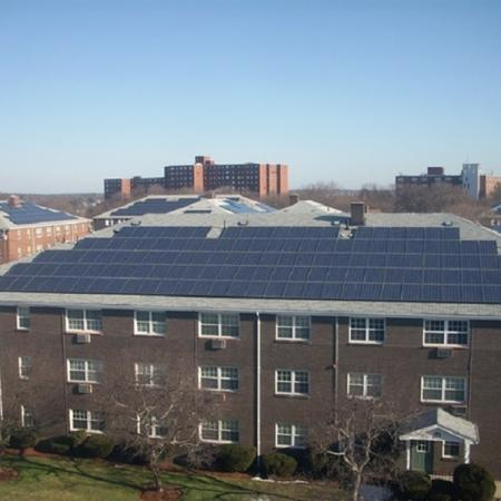 Solar powered panels on building roofs at our apartments for rent in Salem Massachusetts