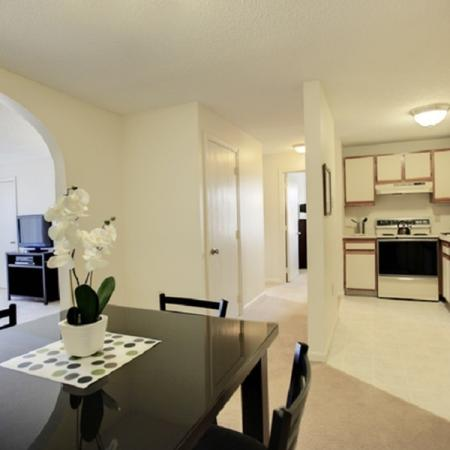 Stunning and sleek dining and kitchen area | Princeton Place | Worcester Massachusetts Apartments For Rent