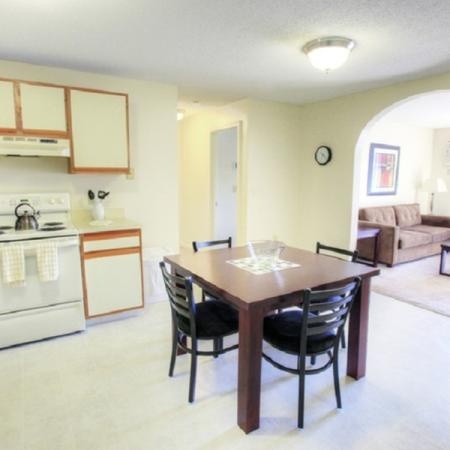 Large kitchen and dining room layout | Princeton Place |2 Bedroom Apartments In Worcester MA