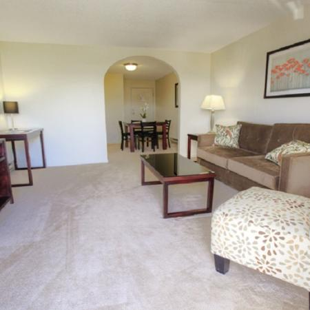 Living room with plush carpeting | Princeton Place | Apartment For Rent Worcester MA