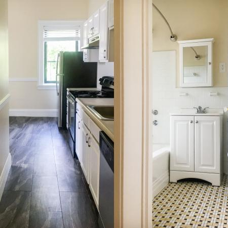 Kitchen and bath at Princeton on Beacon St. apartments in Brookline, MA.