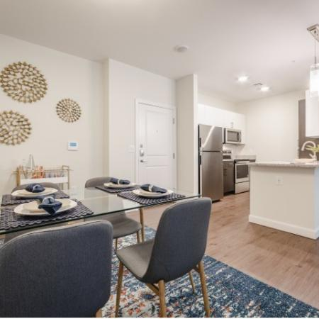 Spacious Dining Room and Kitchen at Mill & 3 Apartments  in Chelmford, MA.