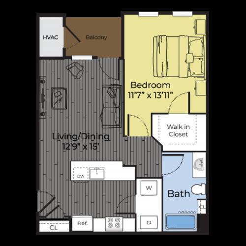 One Bedroom Annex floor plan