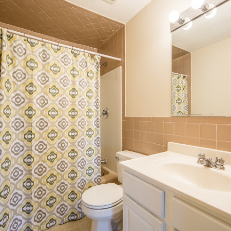Bathroom with large mirror at Princeton Crossing |  Apartment for Rent in Salem, MA