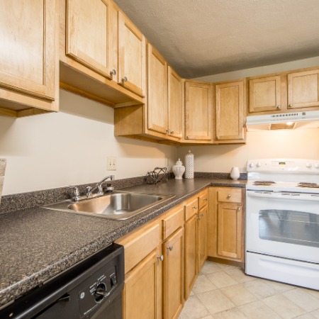 Kitchen with light-colored cabinets at Princeton Crossing | Apartment for Rent in Salem, MA
