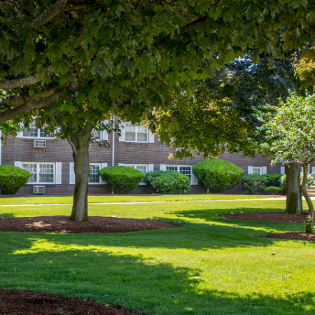 Landscaped ground with trees and building in background  at Princeton Crossing | Apartments for Rent near Salem, MA