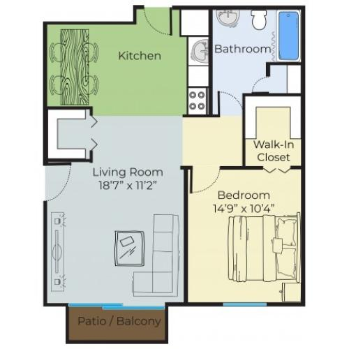 1 Bedroom Floor Plan | Apartments For Rent In Lowell MA | Princeton Park