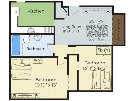 Floor Plan 1 | Apartments For Rent In Lowell MA | Princeton Park