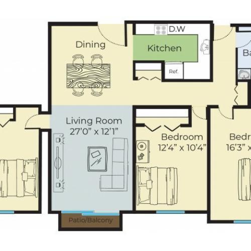 3 Bedroom Floor Plan | Apartment Complex Lowell MA | Princeton Park
