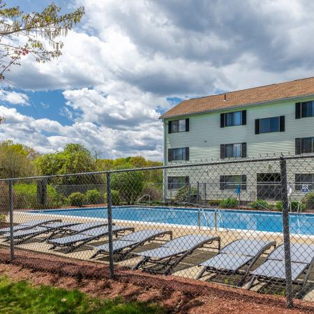 Pool and sun deck  at Princeton Park apartments in Lowell, MA.