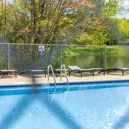 Close up of pool  at Princeton Park apartments in Lowell, MA.