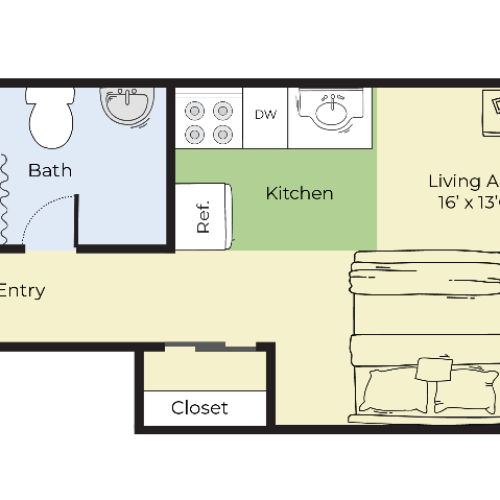 Studio Floor Plan | Apartments In South Lawrence MA | Princeton at Mount Vernon