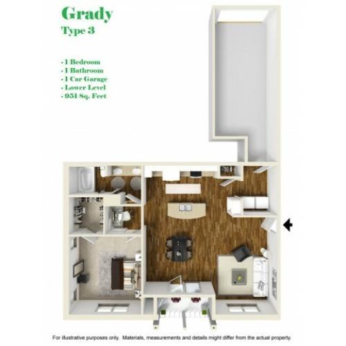 Kelly Reserve Apartments Overland Park Kansas Grady 3 Floor Plan