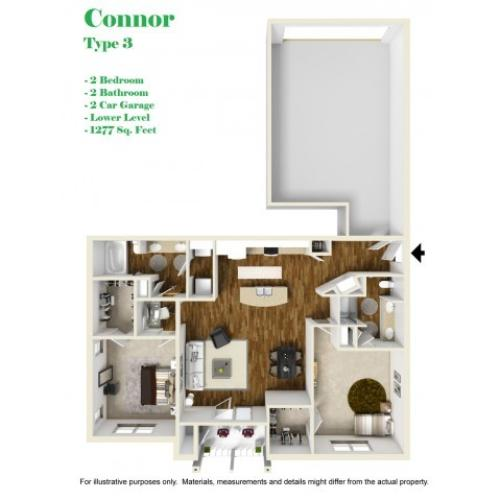Kelly Reserve Apartments Overland Park Kansas Connor 3 Floor Plan