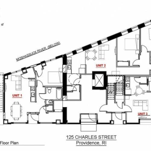1x1 First Floor 530 sf