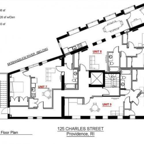 1x1 Third Floor 566 sf