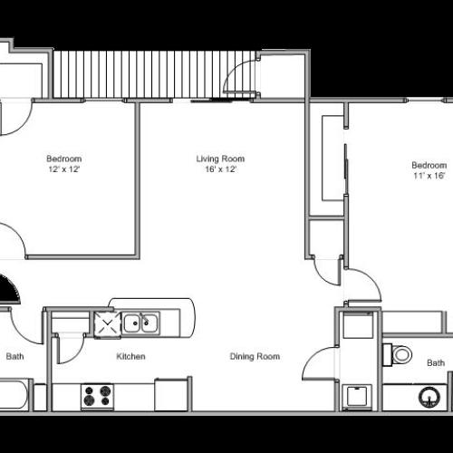 2 bedroom apartment floor plan image