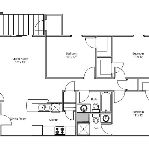 floor plan image of 3 bedroom and 2 bathroom apartment at Quail Creek
