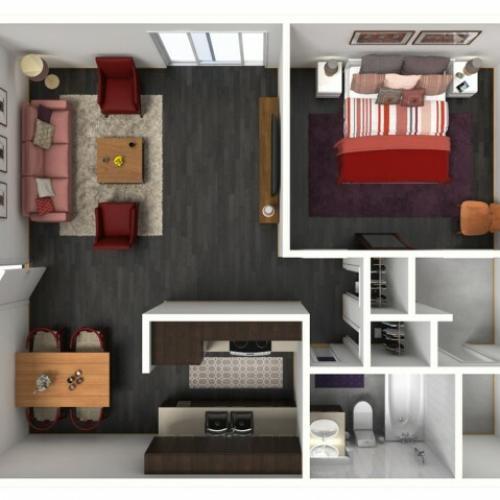 1X1A Floorplan: 1 Bedroom, 1 Bathroom 663 sqft