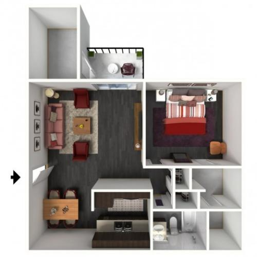 1X1B Floorplan: 1 Bedroom, 1 Bathroom - 718 sqft