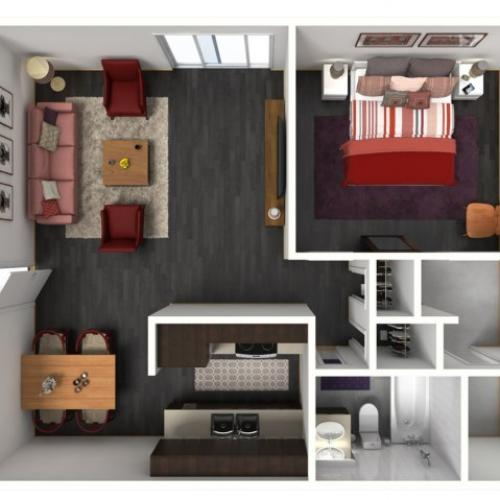 1X1C Floorplan: 1 Bedroom, 1 Bathroom - 750 sqft