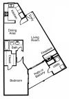 A3: 1 Bedroom, 1 Bathroom; 832sqft
