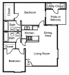 B1: 2 Bedroom,  2 Bathroom; 927sqft
