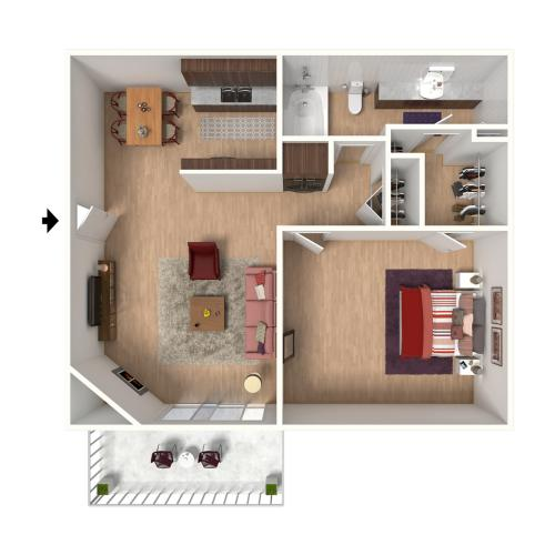 A1 Floorplan: 1 Bedroom, 1 Bathroom - 672 sqft