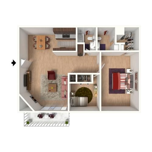 B2 Floorplan: 2 Bedroom, 2 Bathroom - 960 sqft