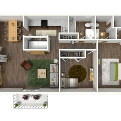 B2 Floorplan: 2 Bedroom, 2 Bathroom, 1000sqft