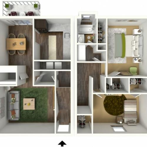 2 Bedroom, 1.5 Bathroom Townhouse. 1161sqft