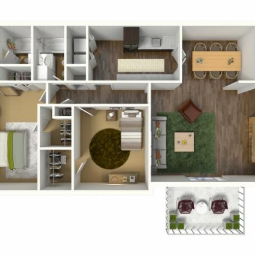 2 Bedroom, 2 Bathroom Apartment. 1161sqft