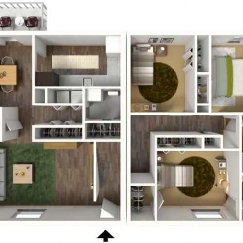 3 Bedroom, 2.5 Bathroom Townhouse. 1464sqft