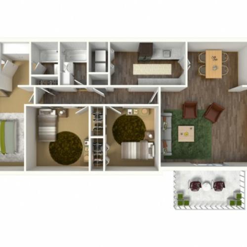 3 Bedroom, 2 Bathroom Apartment. 1323sqft
