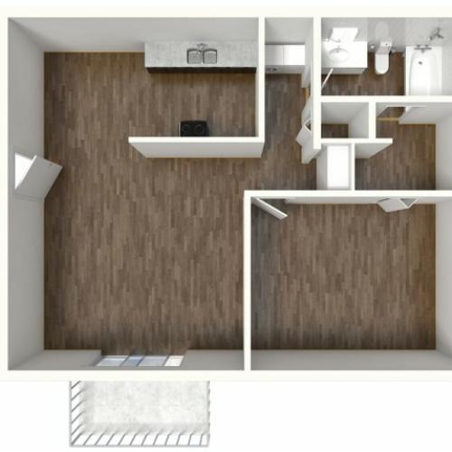 A1 Floorplan: 1 Bedroom, 1 Bathroom, 652sqft