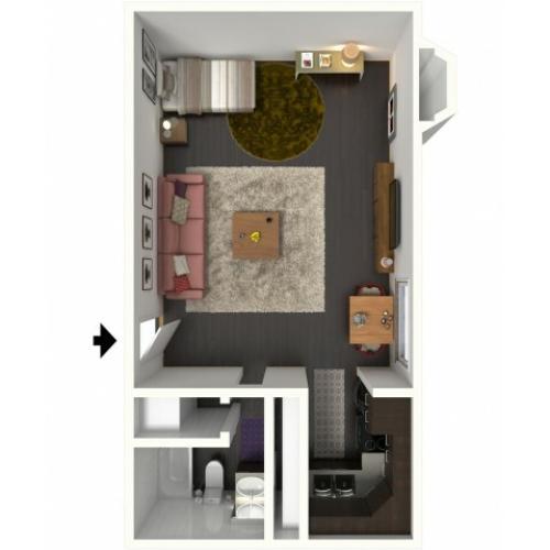 A0 Floorplan: Studio - 500 sqft