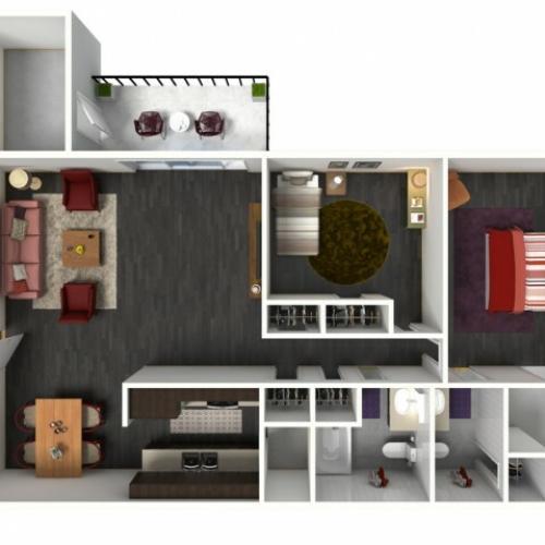 2X2C Floorplan: 2 Bedroom, 2 Bathroom - 1049 sqft
