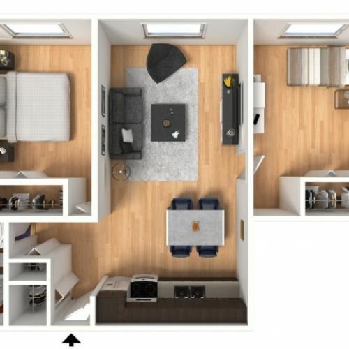 Floor plan layout of 2X1A: 2 Bedroom, 1 Bathroom; 610sqft