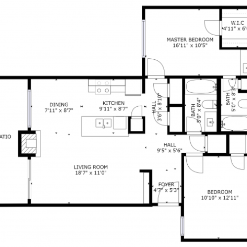 B2 Floorplan: 2 Bedroom, 2 Bathroom - 955 sqft