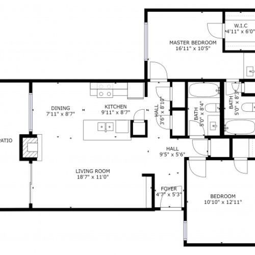 B2 Renovated Floorplan: 2 Bedroom, 2 Bathroom - 955 sqft