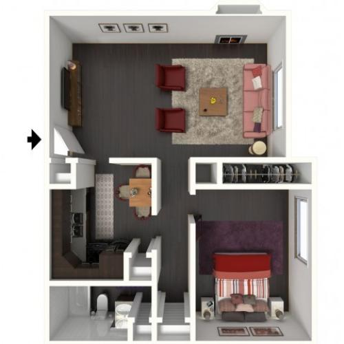 A1 Renovated Floorplan: 1 Bedroom, 1 Bathroom - 750 sqft