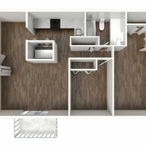 B1 Renovated Floorplan: 2 Bedroom, 1 Bathroom, 888sqft