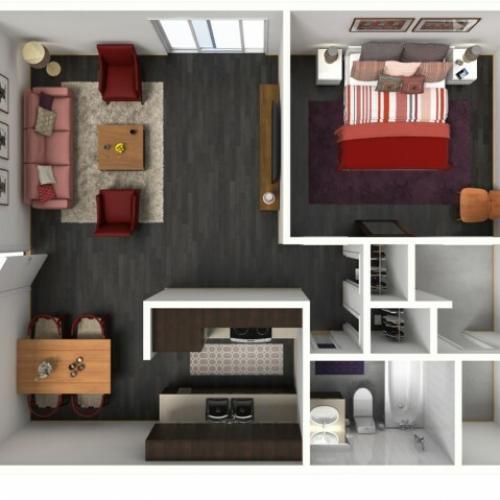 1X1A Renovated Floorplan: 1 Bedroom, 1 Bathroom 663 sqft