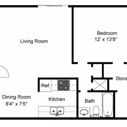 1X1A Renovated Floorplan: 1 Bedroom, 1 Bathroom 663 sqft