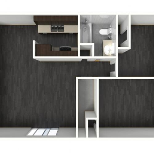 2X1A Renovated Floorplan: 2 Bedroom, 1 Bathroom - 947 sqft