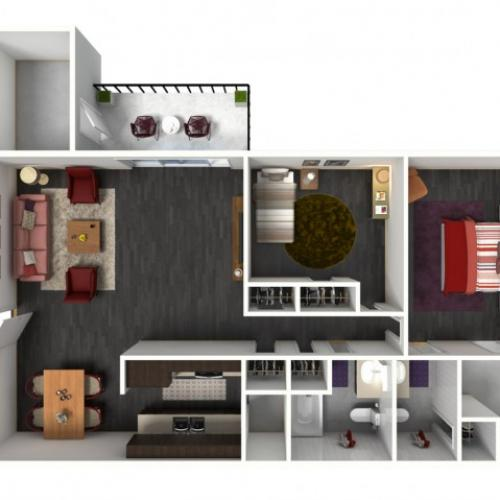2X2B Renovated Floorplan: 2 Bedroom, 2 Bathroom - 1049 sqft